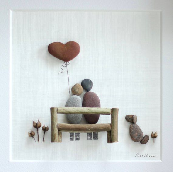 Pebble wedding picture, picture of a couple and their dog, wedding framed pebble art, birthday, anniversary gif, customized pebble art