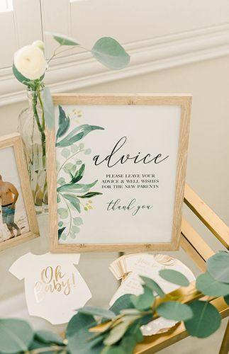 Gold & Greenery Woodland Baby Shower - Baby shower idea - #Baby #Gold #Greenery ...