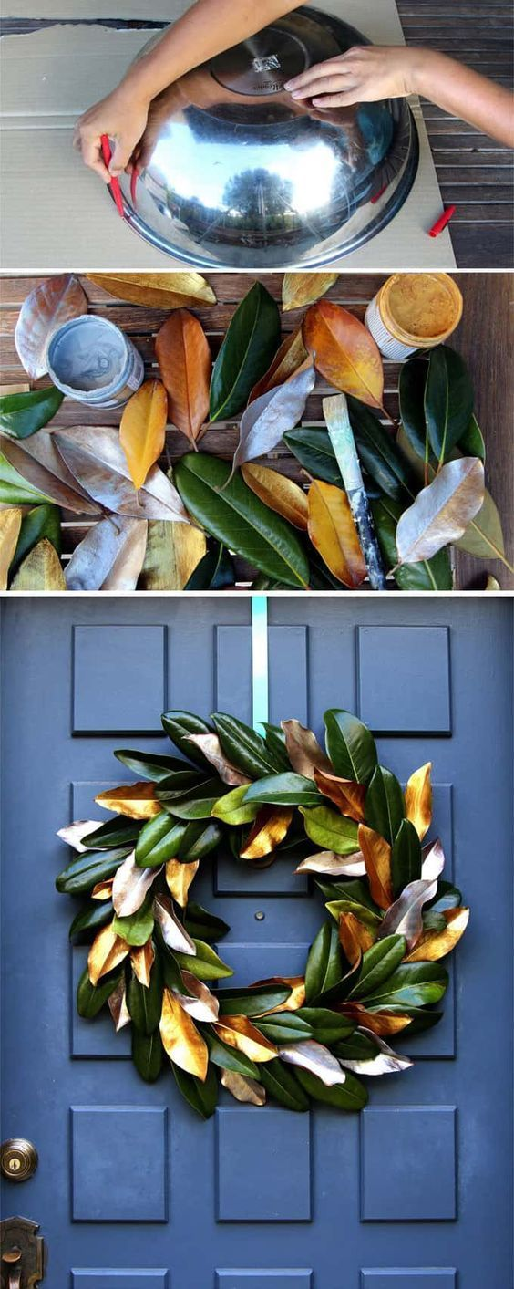 Easy tutorial & video on how to make a beautiful magnolia wreath for free! It is...