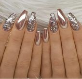 24 Stunning Glitter Nail Art Designs That You Will Love to Try; glitter coffin n...