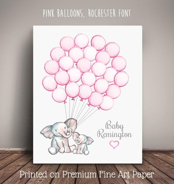 Watercolor Elephant Mom and Baby Shower Guest Book Alternative - Guests sign a b...