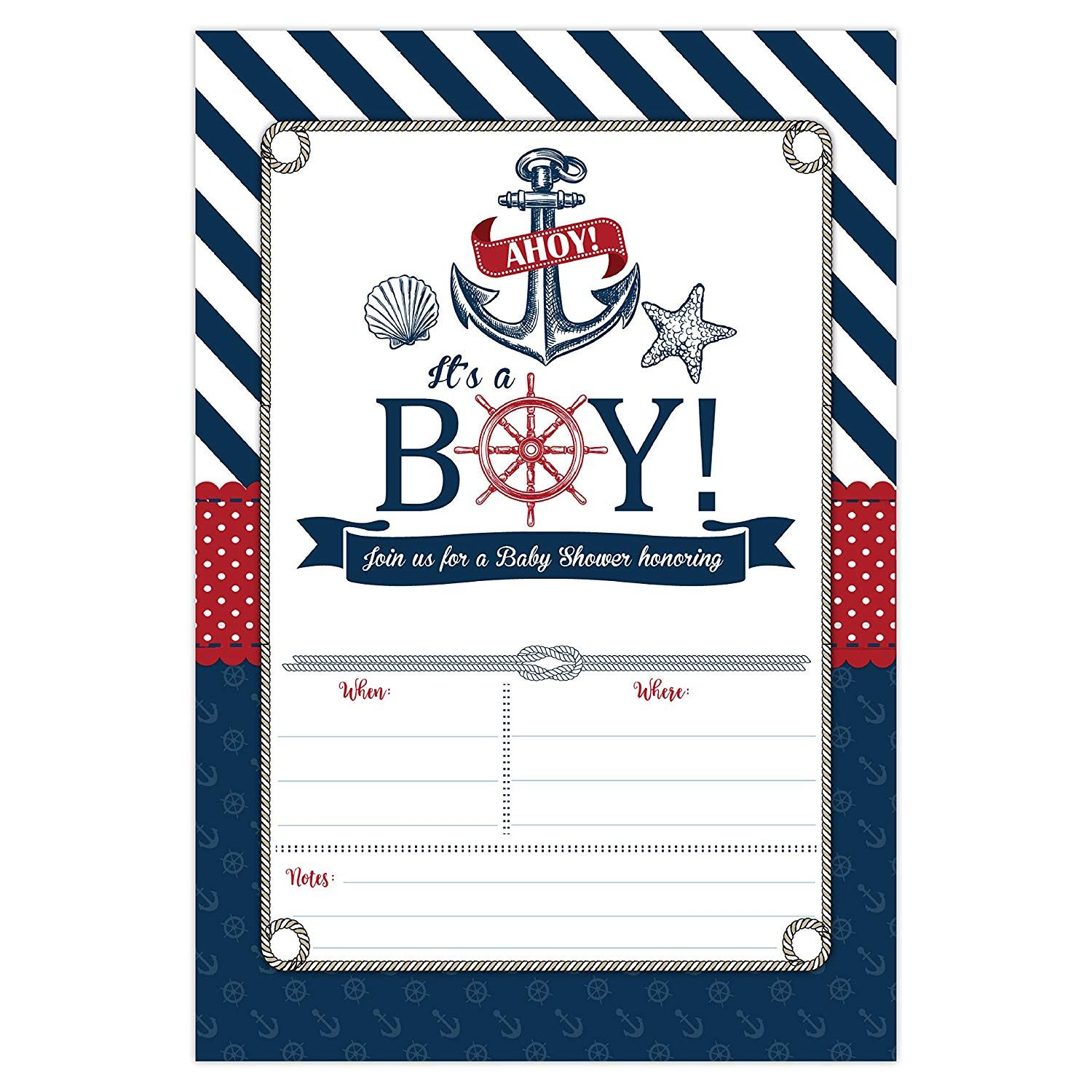 Nautical Baby Shower Invitations Ahoy It S A Boy Baby Shower Invites 20 Fill In Beach Themed Invitations And Envelopes Anchor And Seashells