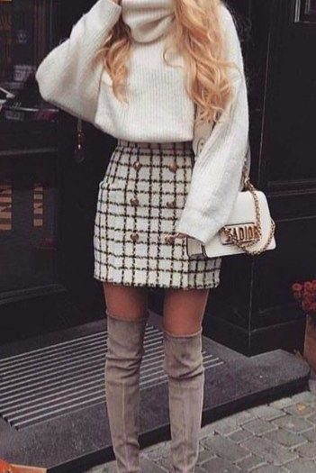 Best case outfit idea with a tweed skirt #best #an #outfit #tweed