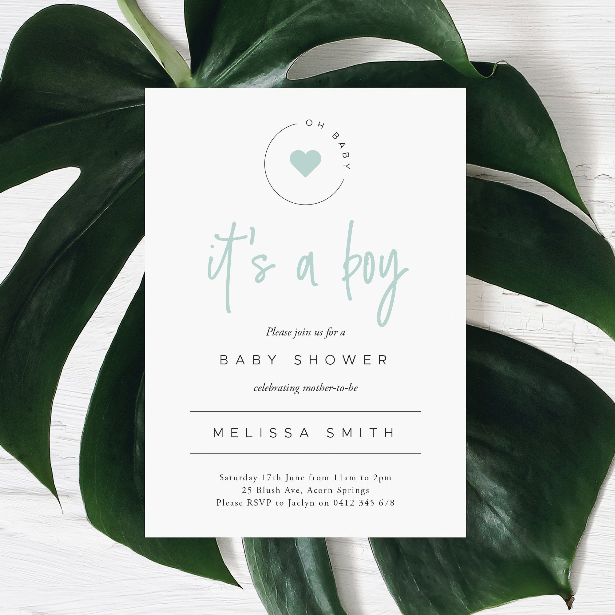 It's A Boy Mint Green Baby Shower Invitation (Printable Digital File Only)