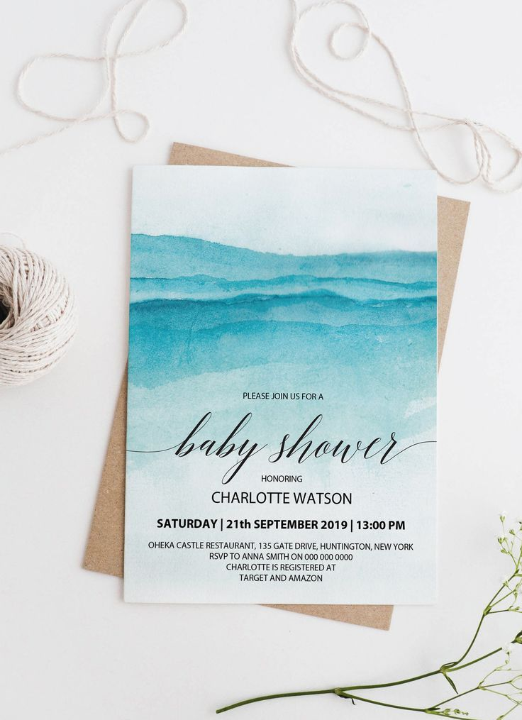 Beach Baby Shower Invitation Printable, INSTANT DOWNLOAD, Nautical Boy Baby Shower Invites, Blue Watercolor PDF