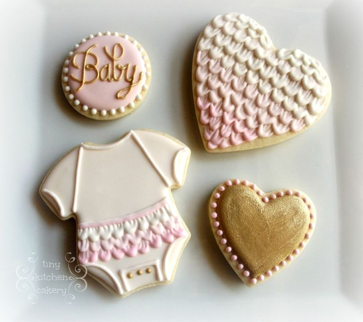 Baby shower cookies set - pink and white and gold ruffles  www.facebook.com/...