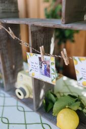 Polaroid garland from a Rustic Lemon Themed Baby Shower on Kara's Party Ideas | ...