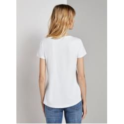 Tom Tailor Denim Ladies T-Shirt with Neon Font Print, white, plain-colored with print, size L Tom TailorTom