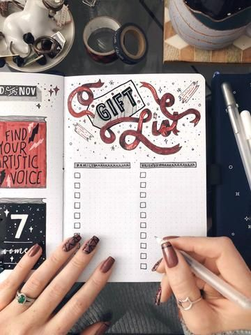 Holiday Gift List Bullet Journal Layout