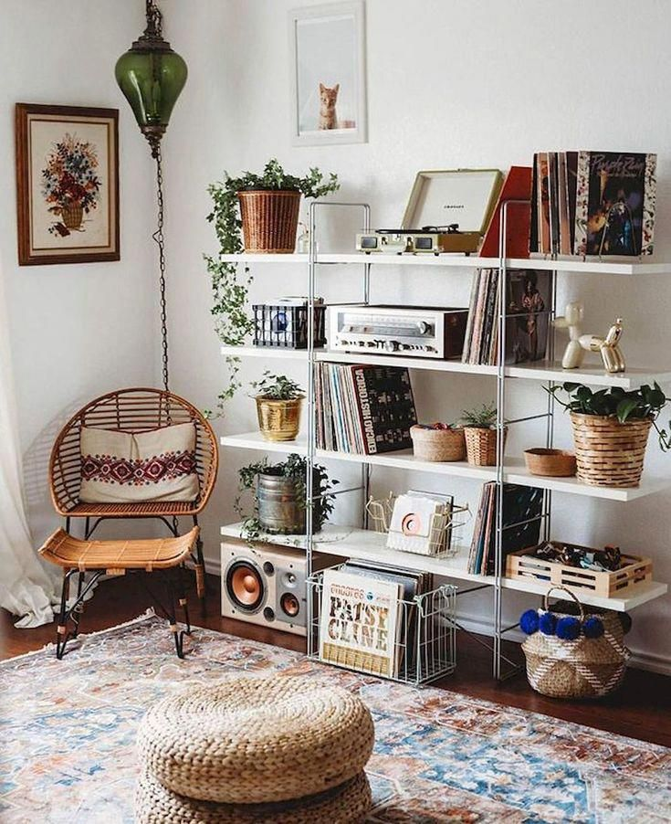 - A mix of mid-century modern, bohemian, and industrial interior style. Home and...