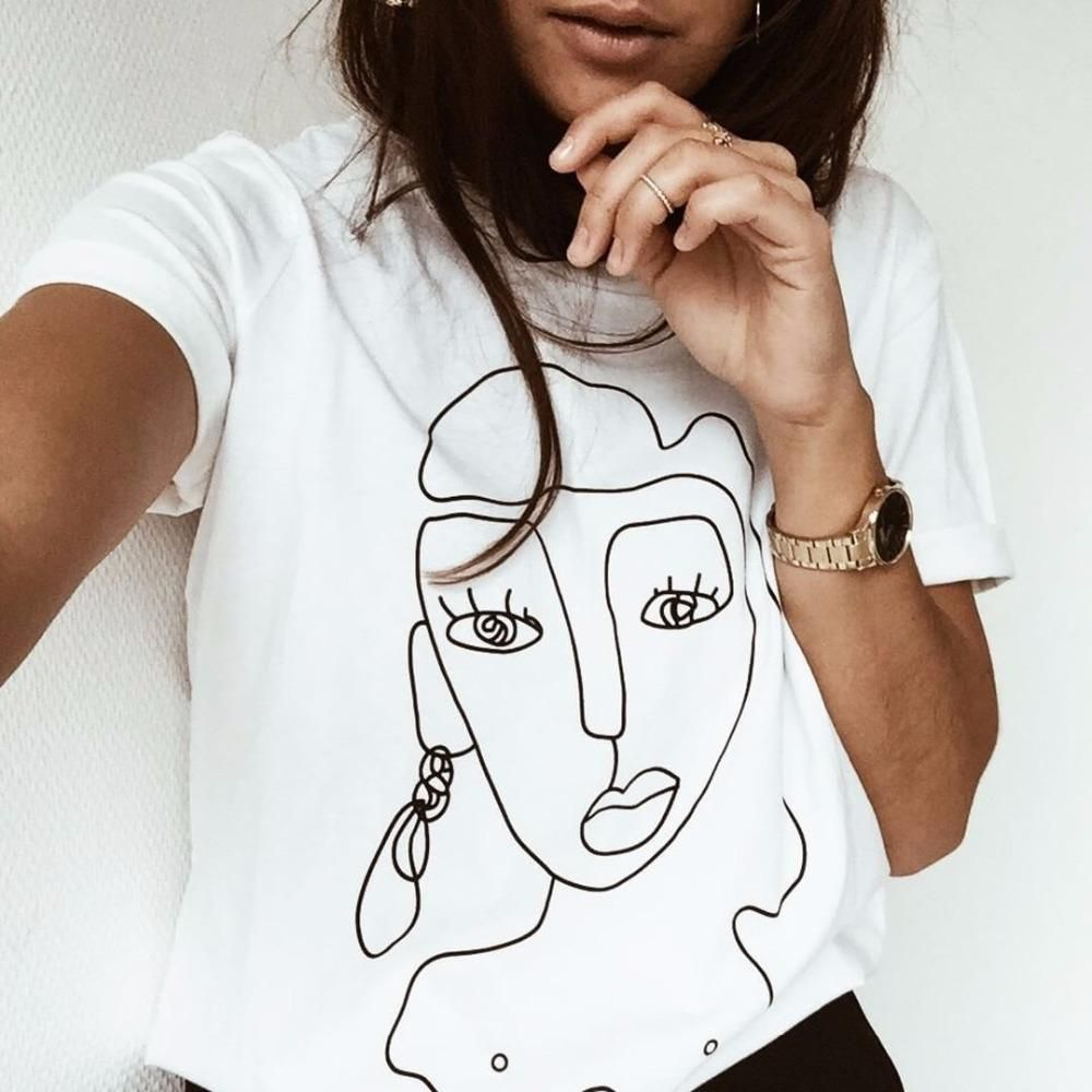 Printed T shirt Women Tops Casual Summer T-Shirt Woman Tshirt white Tee Shirt