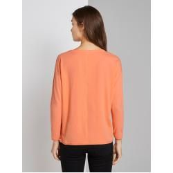 Tom Tailor Ladies' Longsleeve with chest pocket, orange, plain-colored, size XX Tom TailorTom Tailor