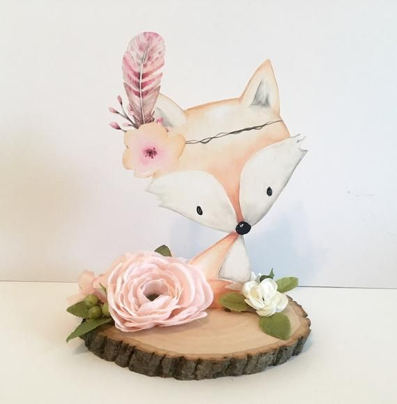 Real Wood Slice Woodland Baby Shower Decor Centerpieces Nursery Centerpiece Decorations Flowers Floral Pink Girl Showers Fox Animal Cut Out