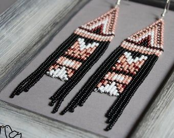 Violet seed bead earrings Orange Fringe earrings Beaded earrings Purple Chandelier earring Boho Beadwork earrings Native american Geometric