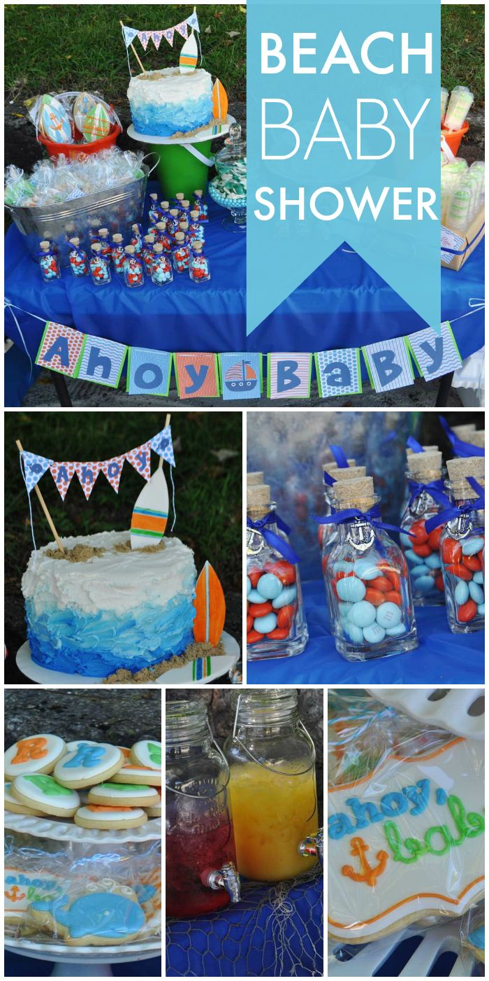 A beach themed Baby on Board shower with a juice bar, an ombre cake and key lime...
