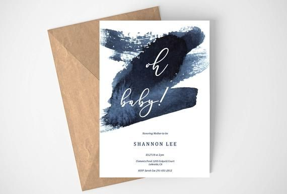 Baby Boy Shower Invitation, Oh Baby Shower Invitation, Navy Blue Watercolor Invitation, Baby Shower Boy Invitation, Editable Invitation,